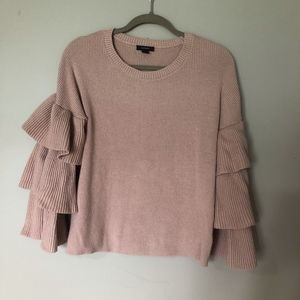 Halogen Mauve Pink Ruffle Sleeve Sweater